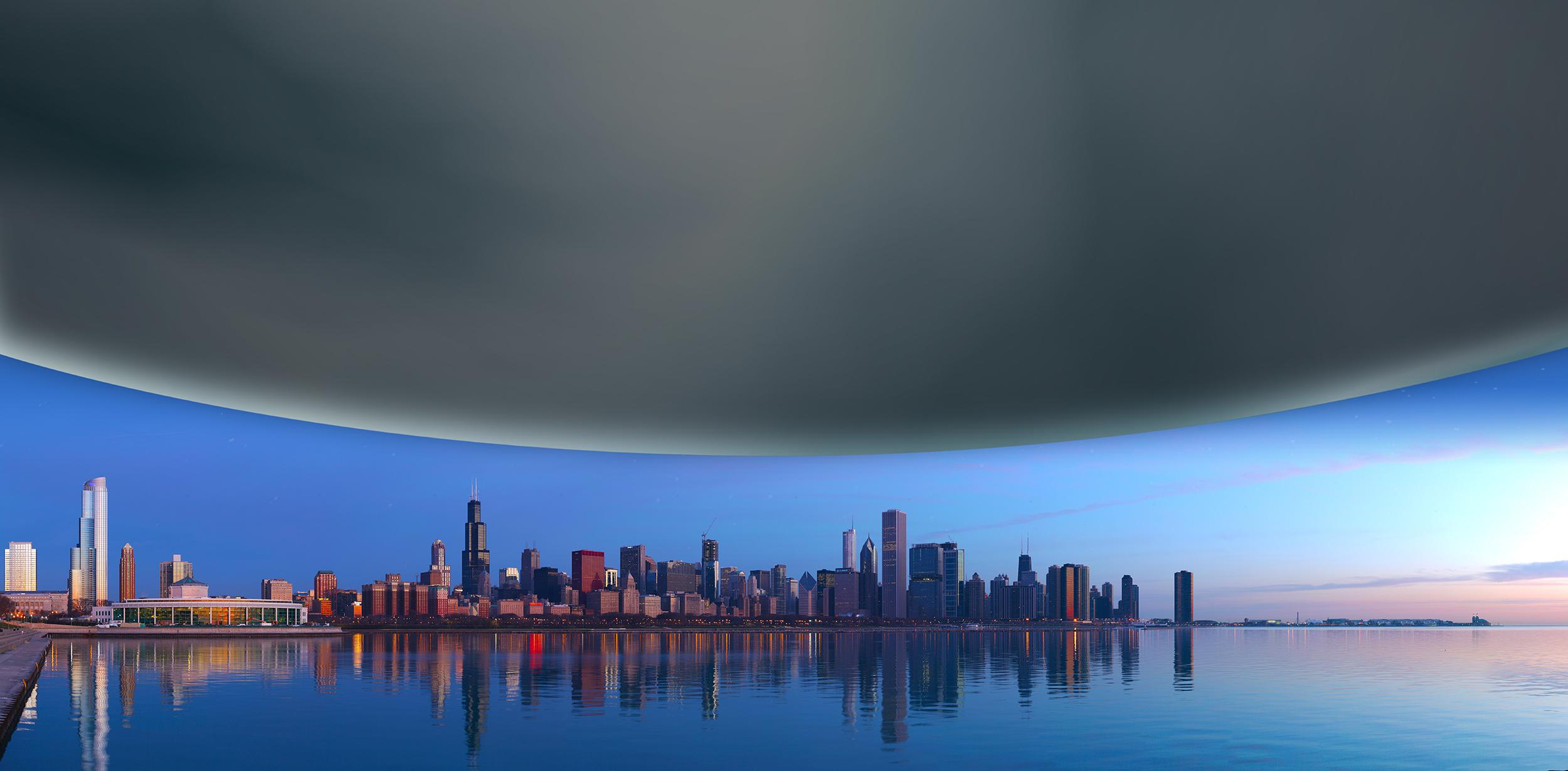 Neutron stars are incredibly incredibly dense, squeezing more than the mass of the sun into a sphere the size of a city. The diameter of a neutron star is about 12 miles, shown here scaled against the Chicago skyline for comparison. (LIGO-Virgo/Daniel Schwen/Northwestern)