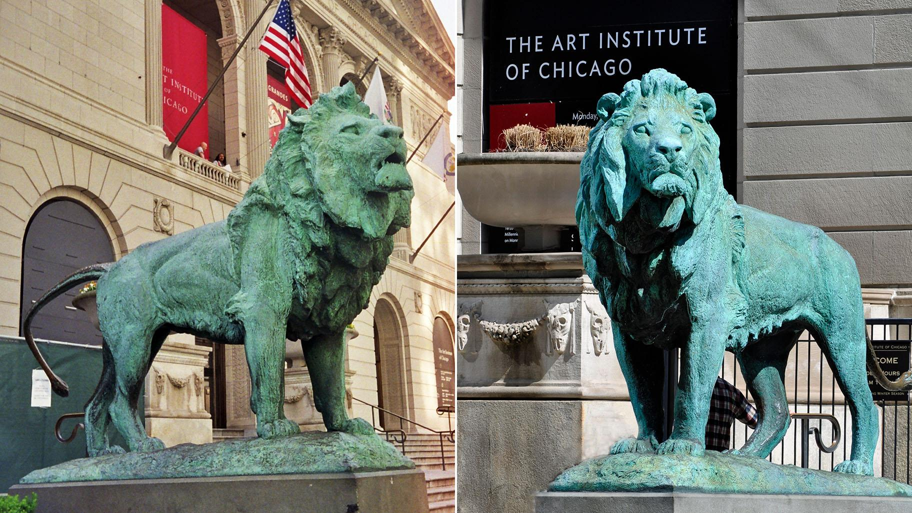 The north lion, left, and south lion at the Art Institute of Chicago. (Credit: Kim Scarborough / Wikimedia Commons; Heather Paul / Flickr)