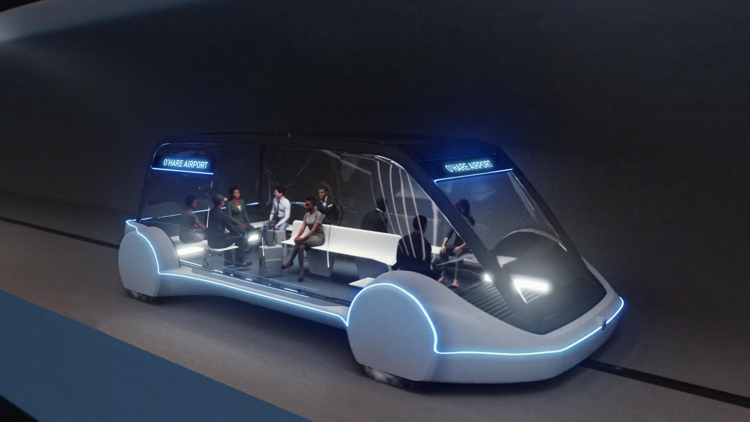 Elon Musk's proposal calls for an underground system that transports travelers on pods at speeds of 125-150 mph. (Credit: The Boring Company)