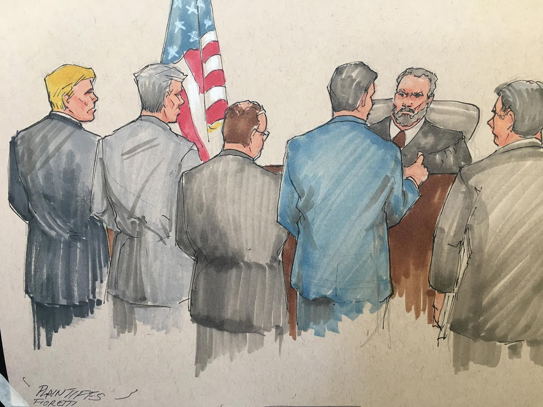 Plaintiffs appear before U.S. District Judge John Robert Blakey on Tuesday, June 11, 2019 to discuss a suit aiming to halt construction of the Obama Presidential Center in Jackson Park. (Courtroom sketch by Tom Gianni)