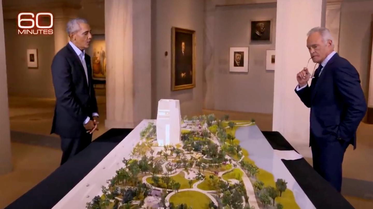 Former President Barack Obama and Scott Pelley, with a model of the Obama Presidential Center. (60 Minutes / YouTube)