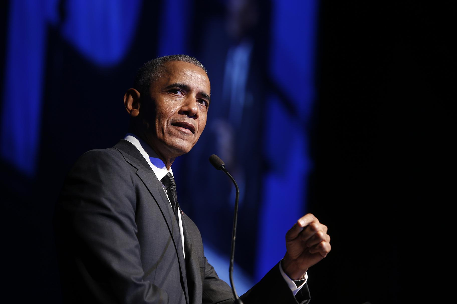 In this Dec. 12, 2018, file photo former President Barack Obama accepts the Robert F. Kennedy Human Rights Ripple of Hope Award at a ceremony in New York. (AP Photo / Jason DeCrow, File)