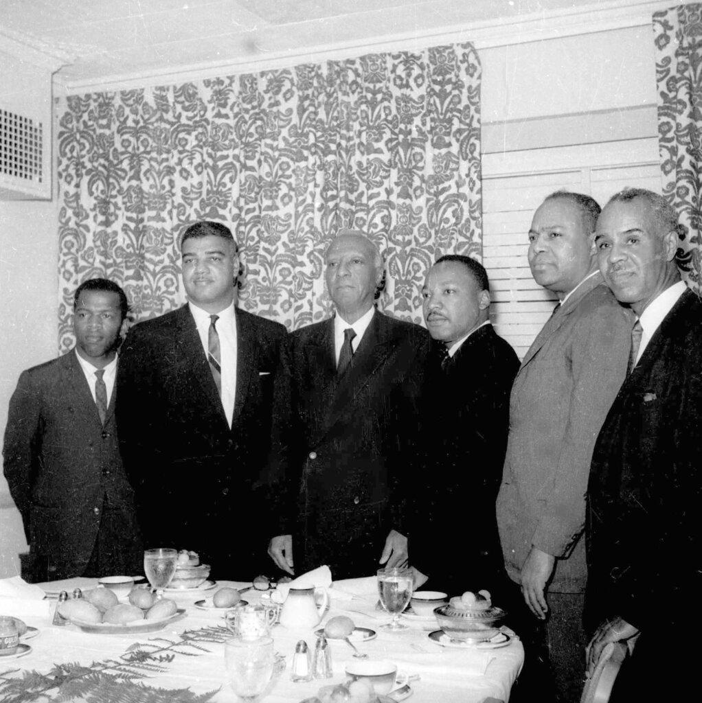 In this July 2, 1963, file photo, six leaders of the nation's largest black civil rights organizations pose at the Roosevelt Hotel in New York. From left, are: John Lewis, chairman Student Non-Violence Coordinating Committee; Whitney Young, national director, Urban League; A. Philip Randolph, president of the Negro American Labor Council; Martin Luther King Jr., president Southern Christian Leadership Conference; James Farmer, Congress of Racial Equality director; and Roy Wilkins, executive secretary, Natio