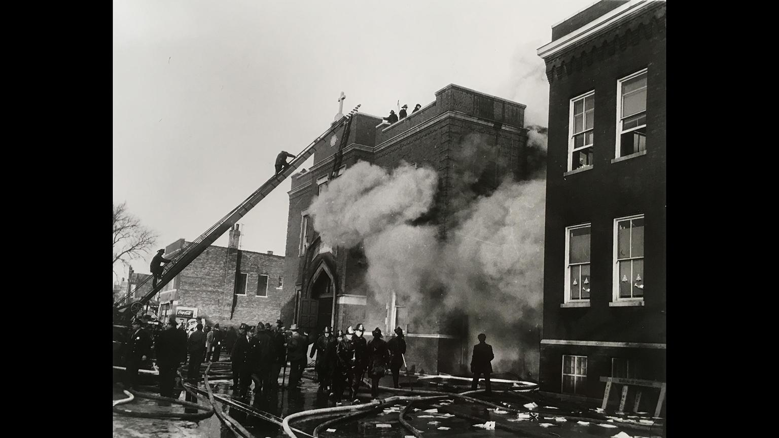 Firefighters at the scene of the fire at Our Lady of the Angels on Dec. 1, 1958. (Photo of image courtesy Chicago History Museum)