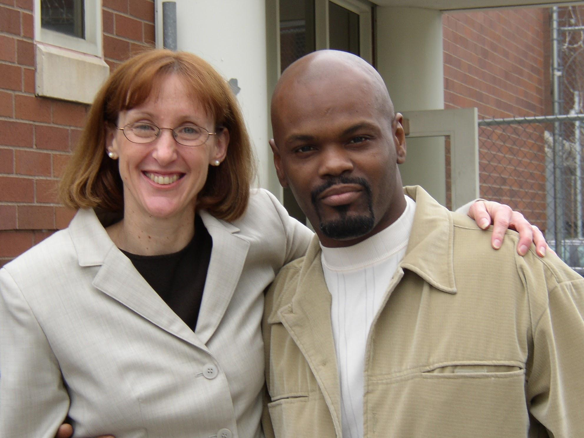 Karen Daniel poses with Dana Holland on June 6, 2003, the day he was released from prison. (Courtesy of Karen Daniel / Center on Wrongful Convictions)