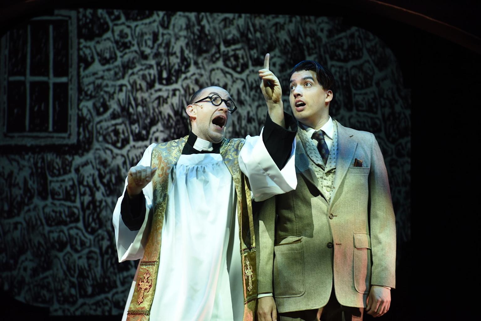 "Matt Crowle and Andrés Enriquez in ""A Gentleman's Guide to Love & Murder."" (Photo by Michael Courier)"
