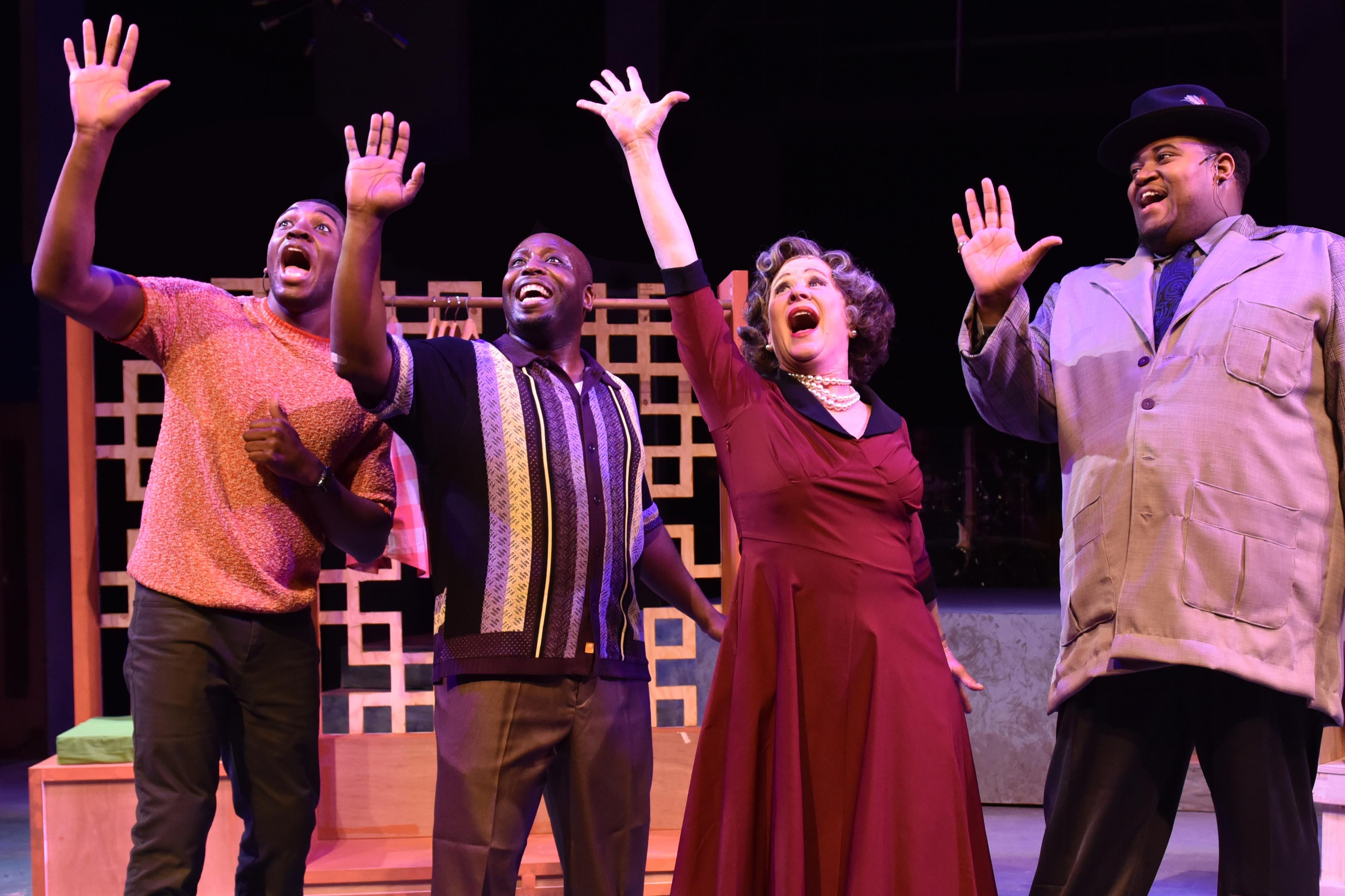 "From left: Gilbert Domally, James Earl Jones II, Nancy Wagner and Lorenzo Rush, Jr. in ""Memphis"" from Porchlight Music Theatre. (Photo by Michael Courier)"