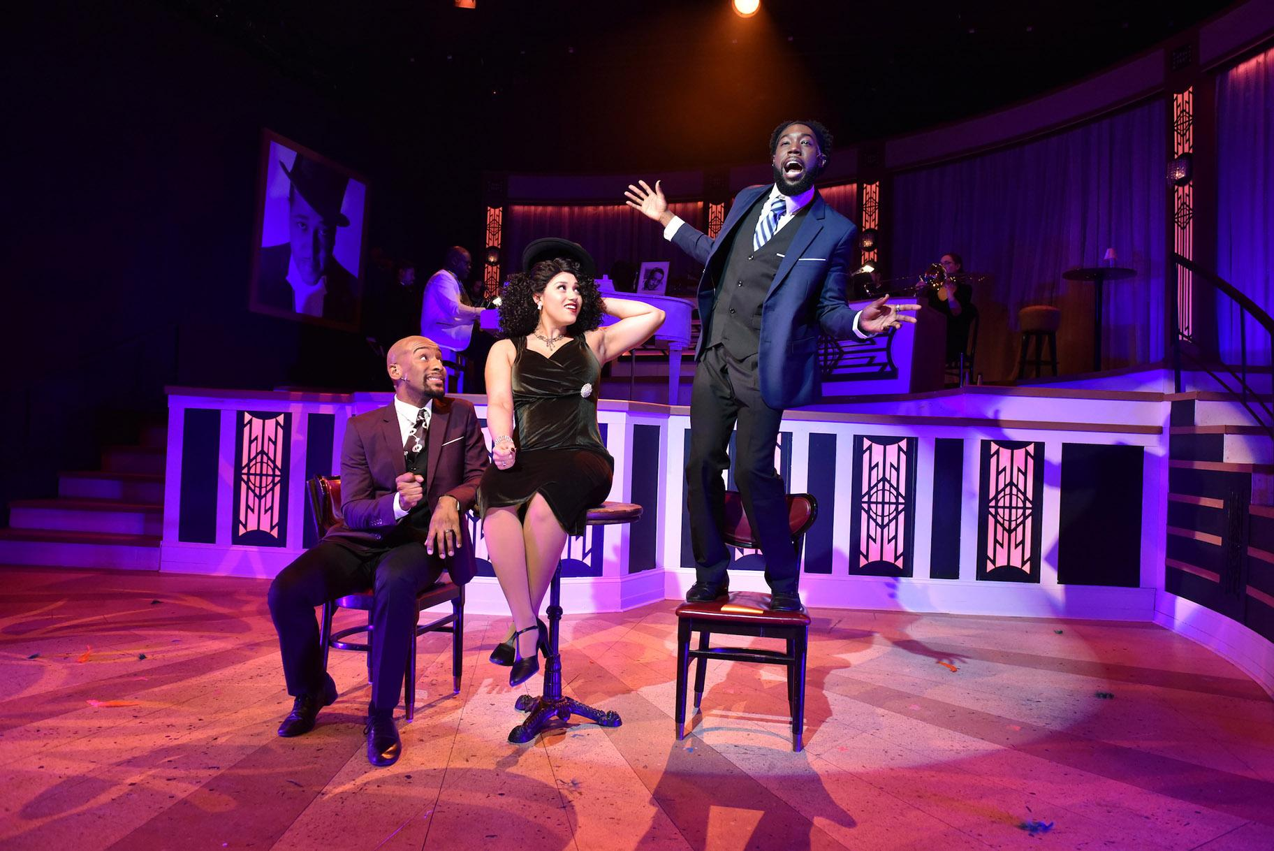 "From left: Donterrio Johnson, Lydia Burke and Eustace J. Williams in ""Love You Madly/Perdido"" from ""Sophisticated Ladies."" (Photo by Michael Courier)"
