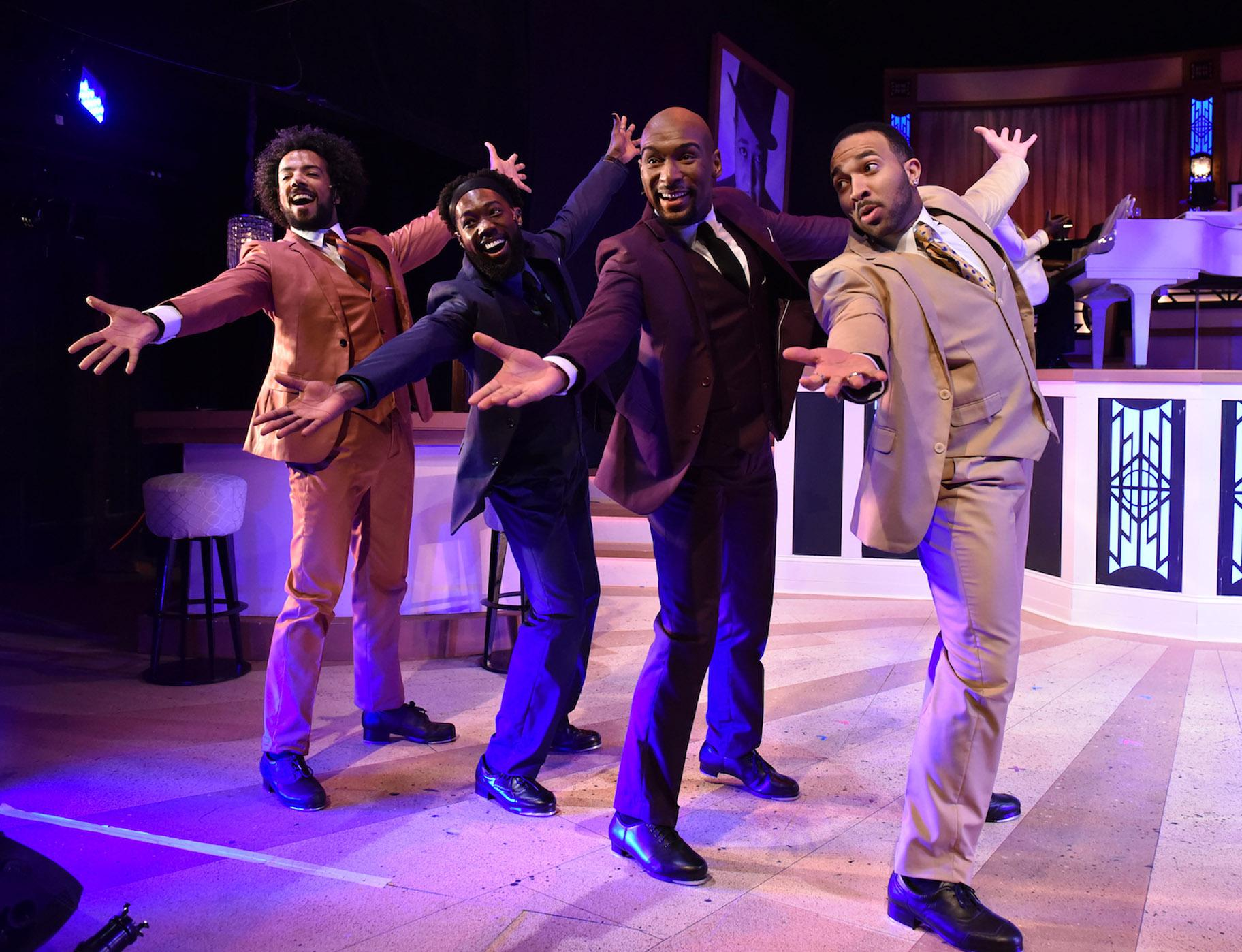 "From left: Joey Stone, Eustace J. Williams, Donterrio Johnson and Chuckie Benson in ""I've Got to Be a Rug Cutter"" from ""Sophisticated Ladies."" (Photo by Michael Courier)"