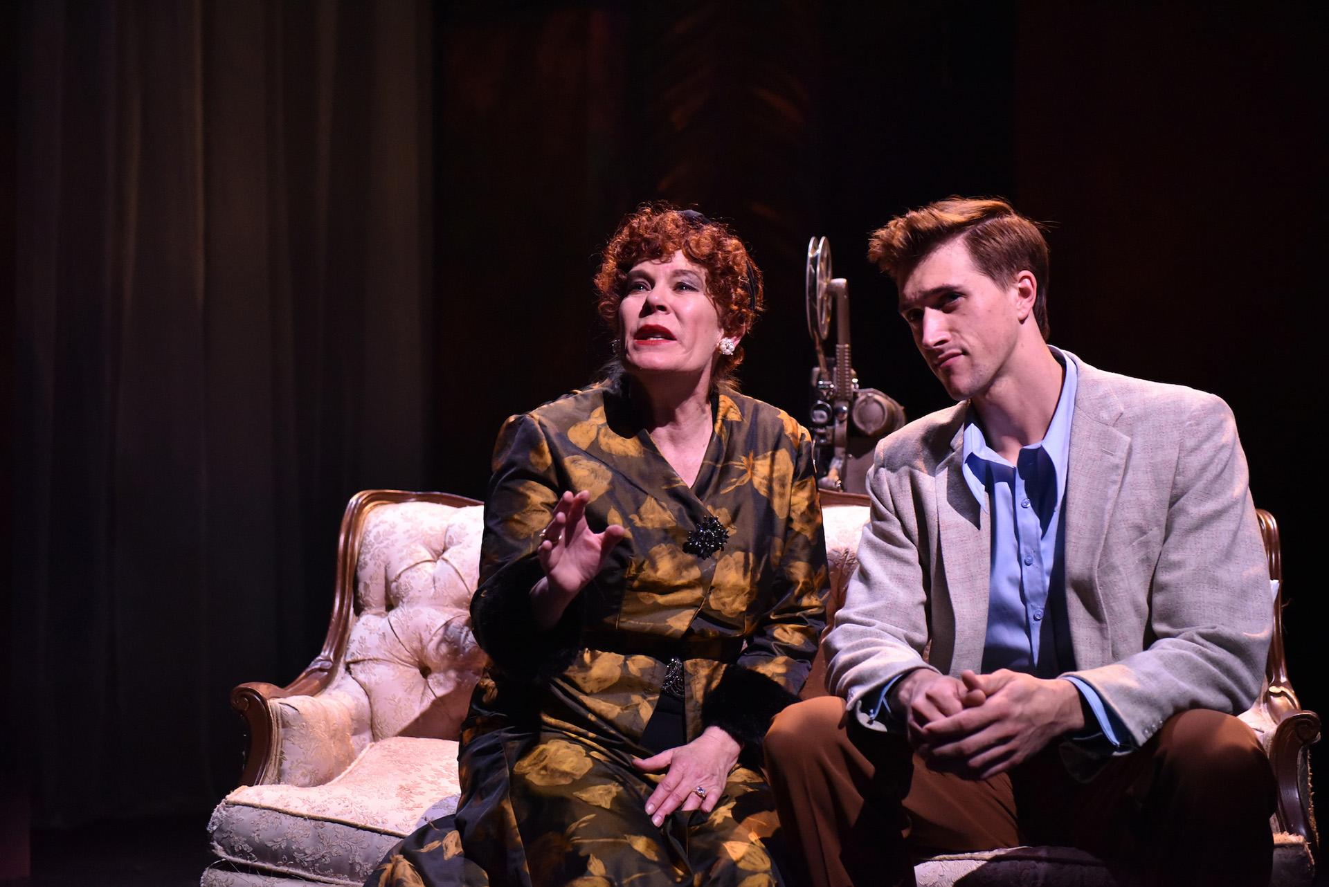 "Hollis Resnik as Norma Desmond and Billy Rude as Joe Gillis in ""Sunset Boulevard"" from Porchlight Music Theatre. (Photo by Michael Courier)"
