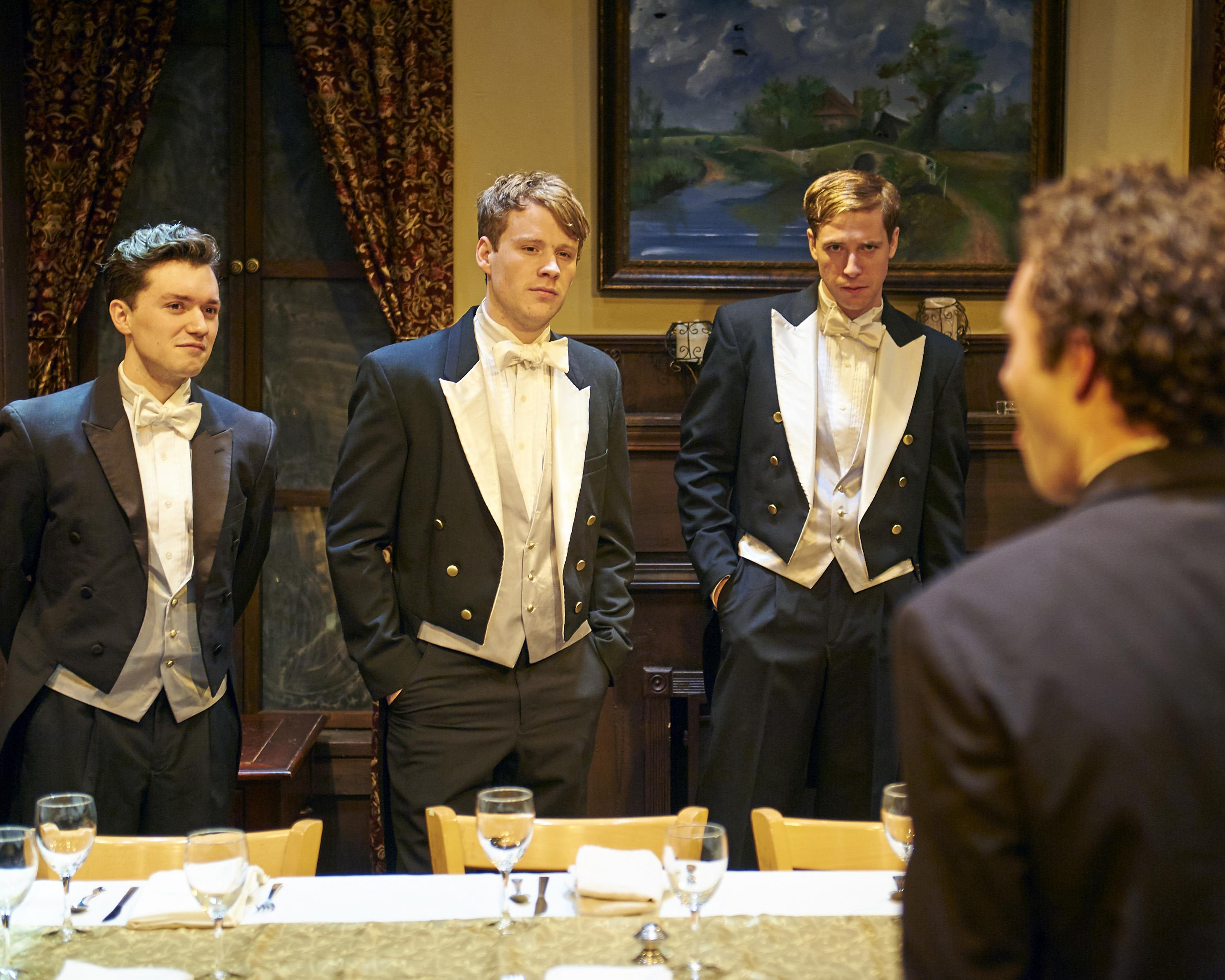 "From left: Matthew Garry, Dash Barber, Michael Holding and Sean Wiberg in ""Posh"" at Steep Theatre. (Lee Miller)"