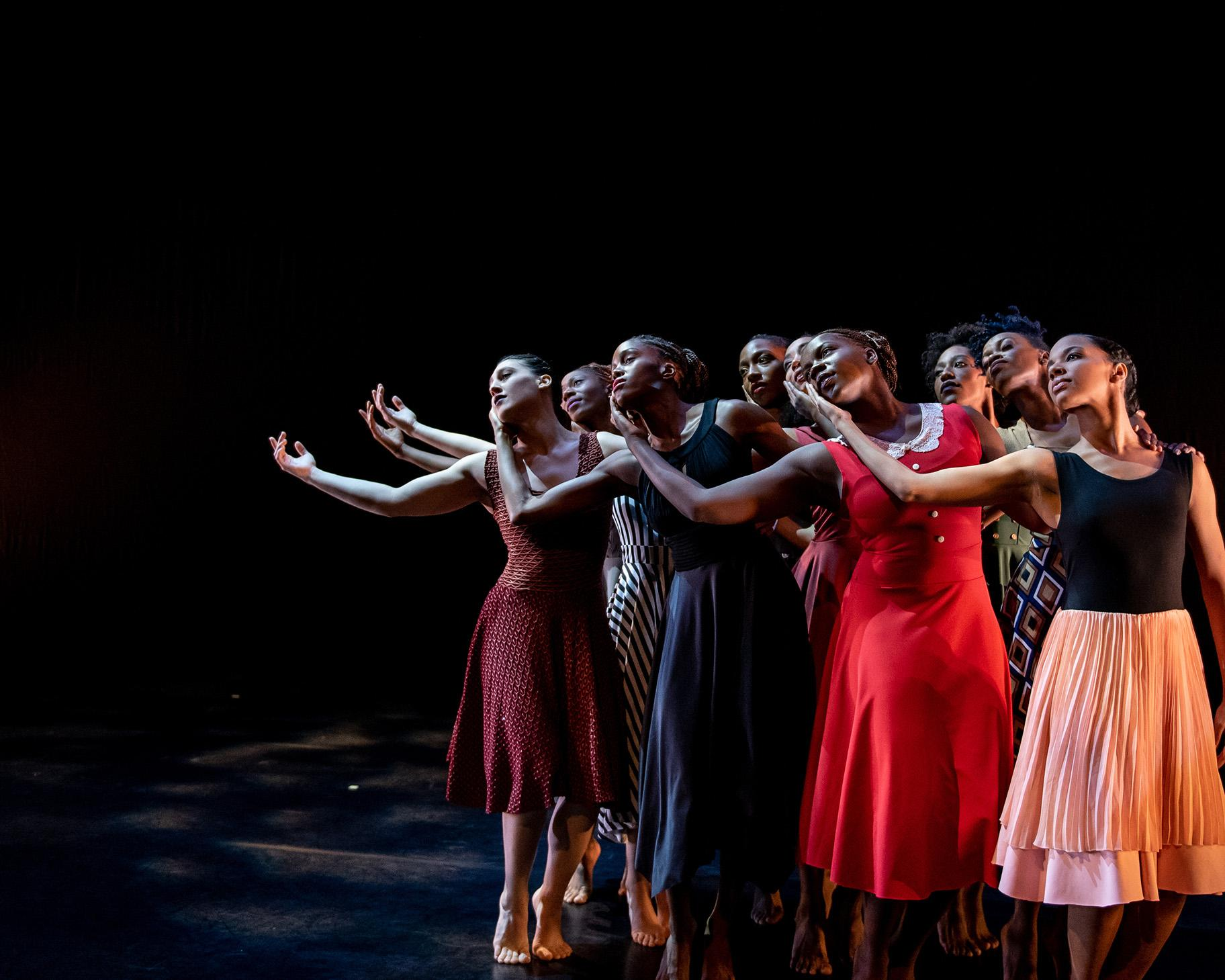 "Deeply Rooted Dance Theater company members perform ""Parallel Lives."" (Photo by Michelle Reid)"