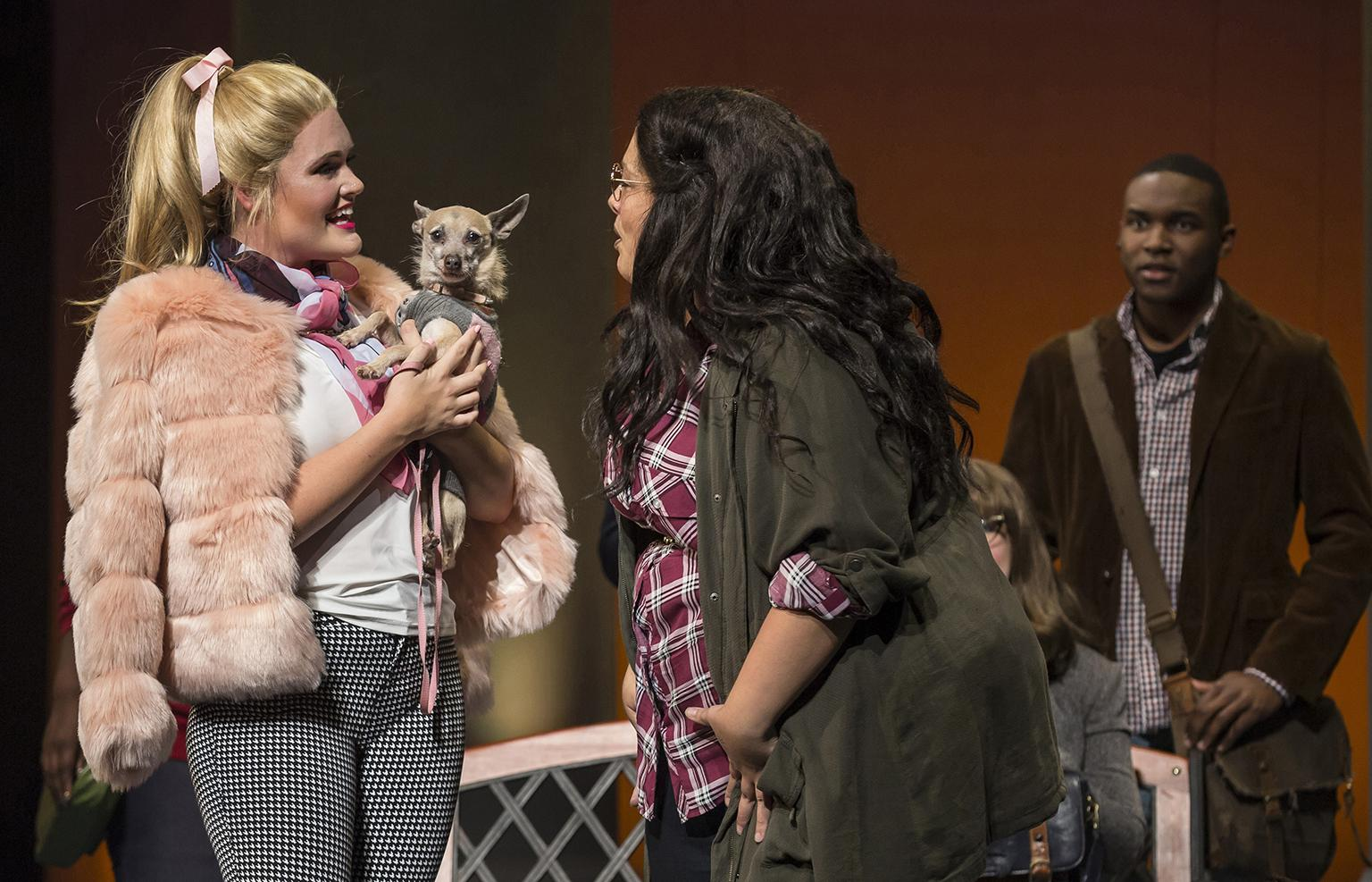 "From left: Casey Shuler, Teressa LaGamba and Gerald Caesar in ""Legally Blonde."" Also pictured: Frankie, a rescue dog, as Elle's trusty sidekick Bruiser. (Credit: Liz Lauren)"