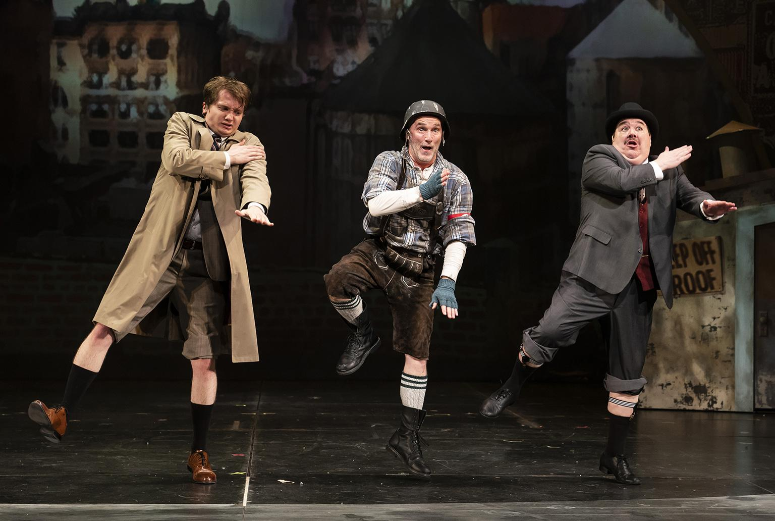 "Jake Morrissy, left, Ron Rains, center, and Blake Hammond in ""The Producers."" (Photo credit: Liz Lauren)"