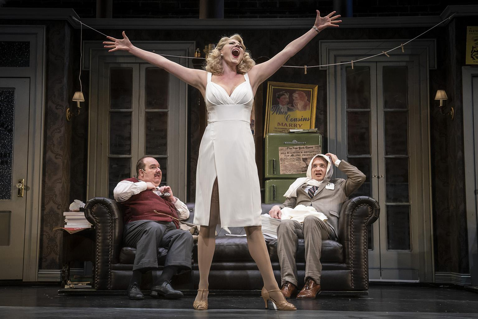 "Elyse Collier, center, Black Hammond, left, and Jake Morrissy in ""The Producers."" (Photo credit: Liz Lauren)"
