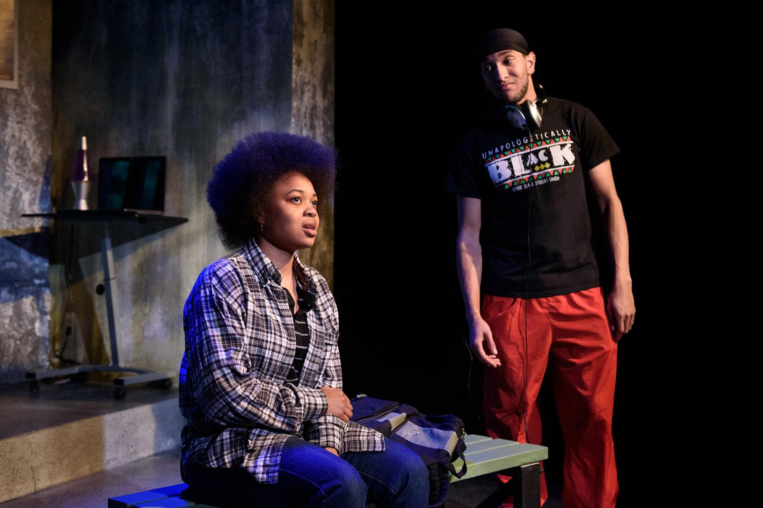 "Jamia Taylor and Vincent Banks from ""Fragile Limbs"" in the 32nd Annual Young Playwrights Festival at Pegasus Theatre Chicago (Photo by Michael Courier)"