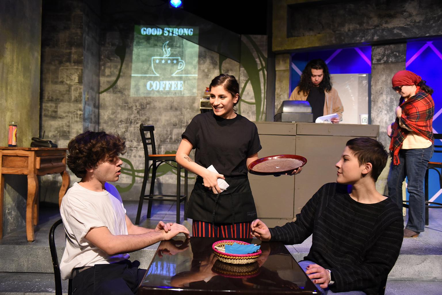 "Sam Godinez, Kameron Villavicencio and Grace Bolander (rear: Juan Castillo and Marianna Gallegos) from ""Good, Strong Coffee) in the 32nd Annual Young Playwrights Festival at Pegasus Theatre Chicago (Photo by Michael Courier)"