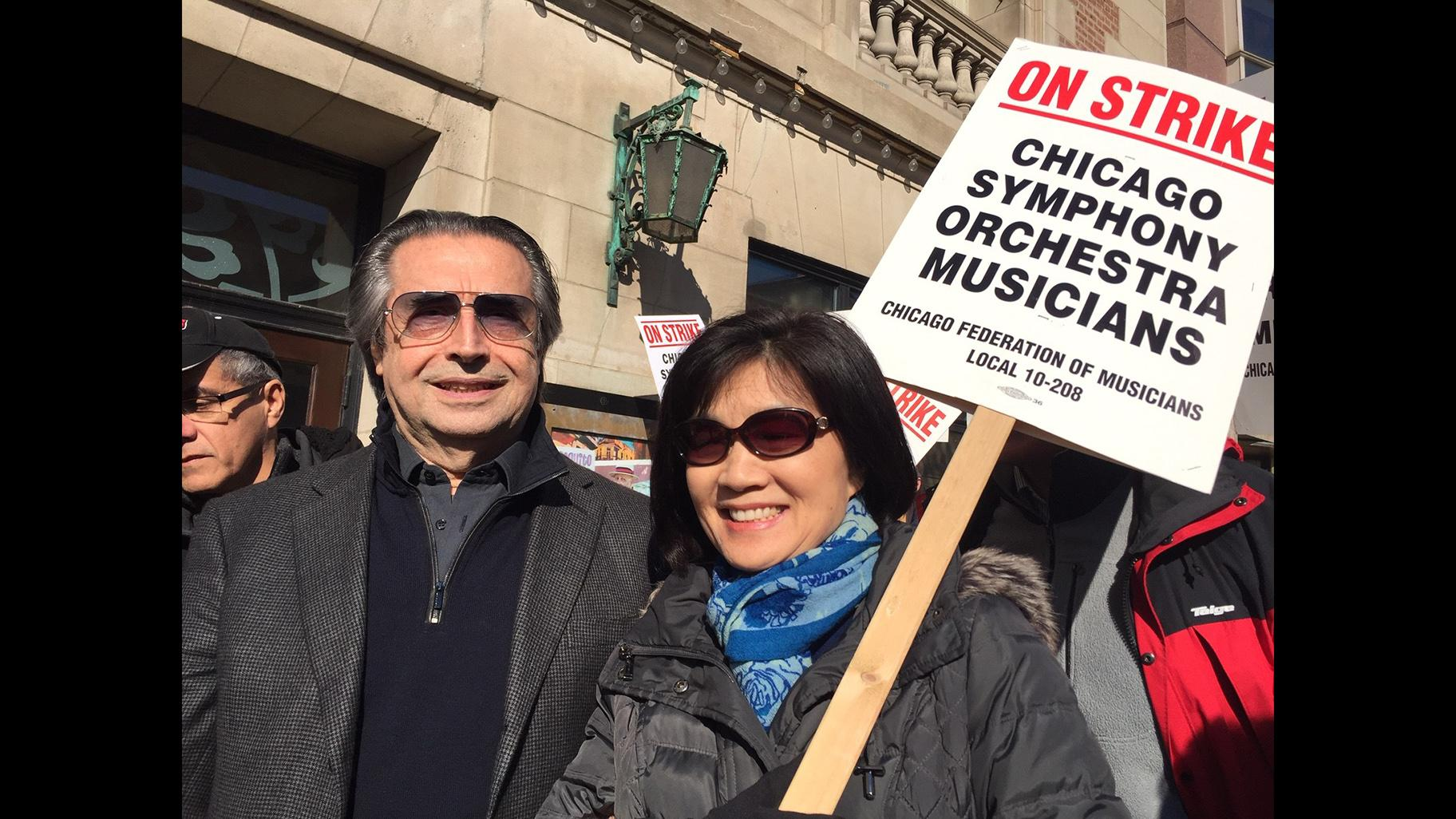 Conductor Riccardo Muti joins striking Chicago Symphony Orchestra musicians Tuesday, March 12, 2019. (Eddie Arruza / WTTW News)