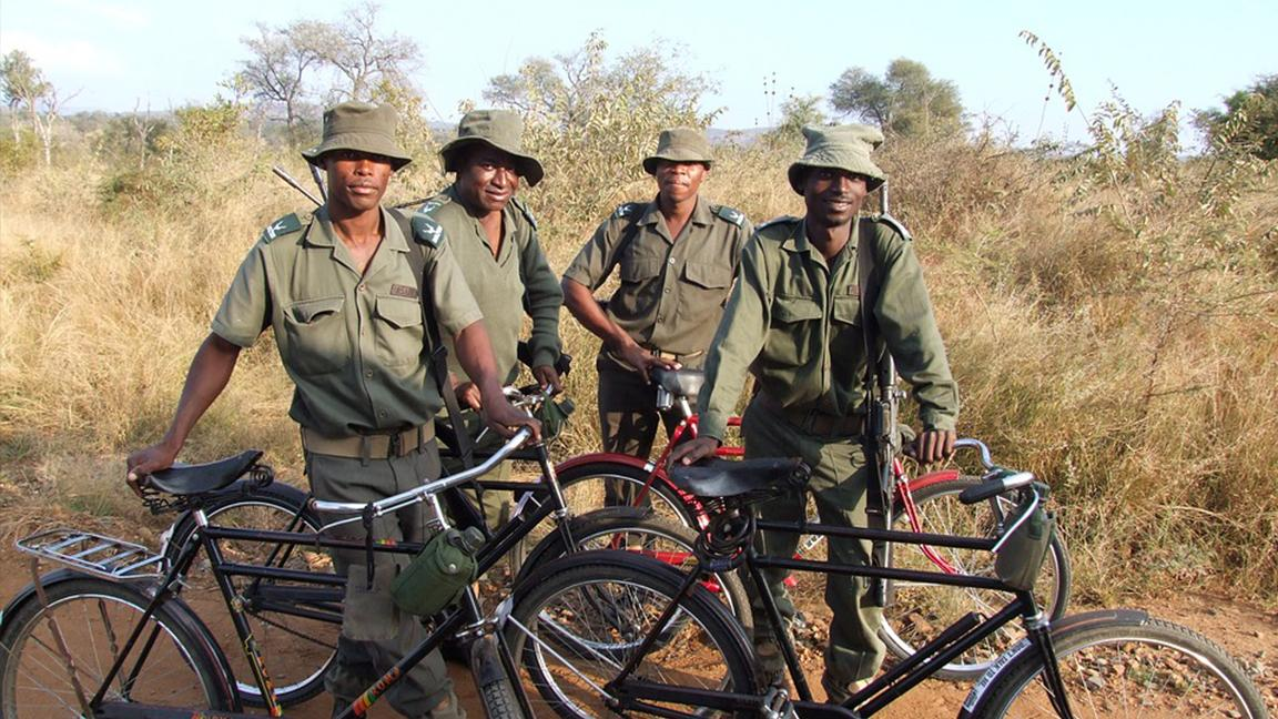 Park rangers patrol South Africa's Kruger National Park, one of Africa's largest game reserves.