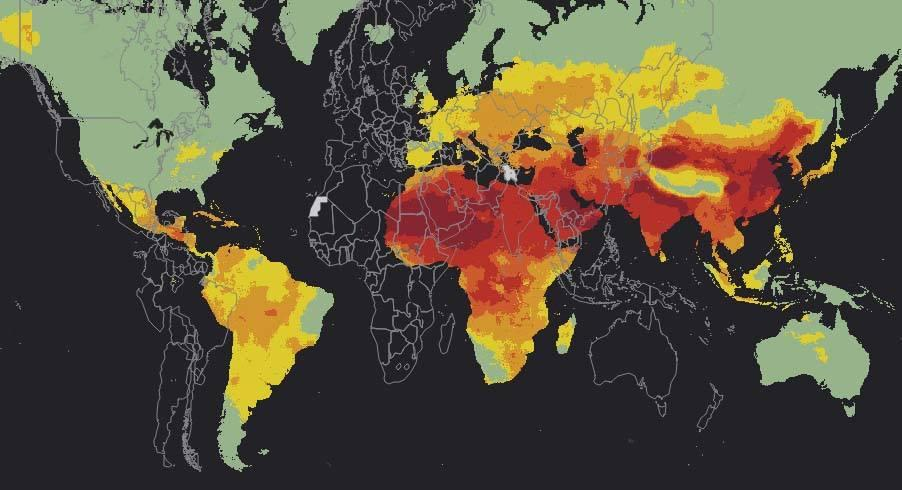 A map from the Global Alliance on Health and Pollution indicates 92 percent of the world's population is at risk of air pollution. (Global Alliance on Health and Pollution)