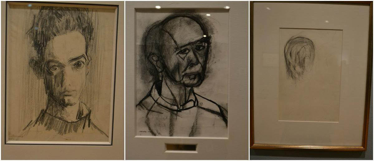 From left: William Utermohlen's self-portraits in 1955 and 1995, and an erased head in 2000. (Courtesy Estate of William Utermohlen and private lenders)