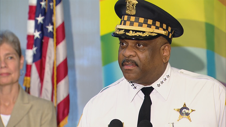 Chicago Police Superintendent Eddie Johnson speaks about increased security measures for next weekend's Chicago Pride Parade.