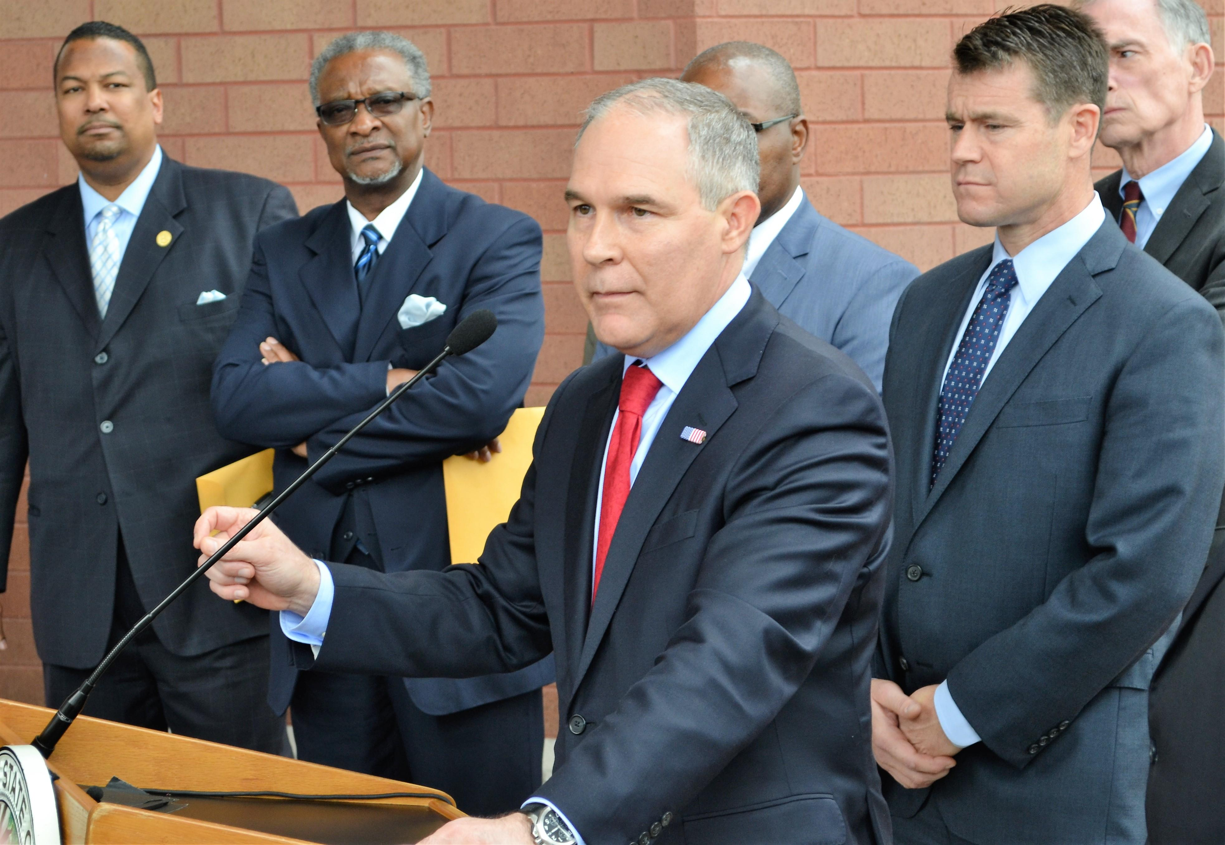 EPA Administrator Scott Pruitt speaks April 19 after meeting with residents of lead-contaminated neighborhoods in East Chicago. (Alex Ruppenthal / Chicago Tonight)