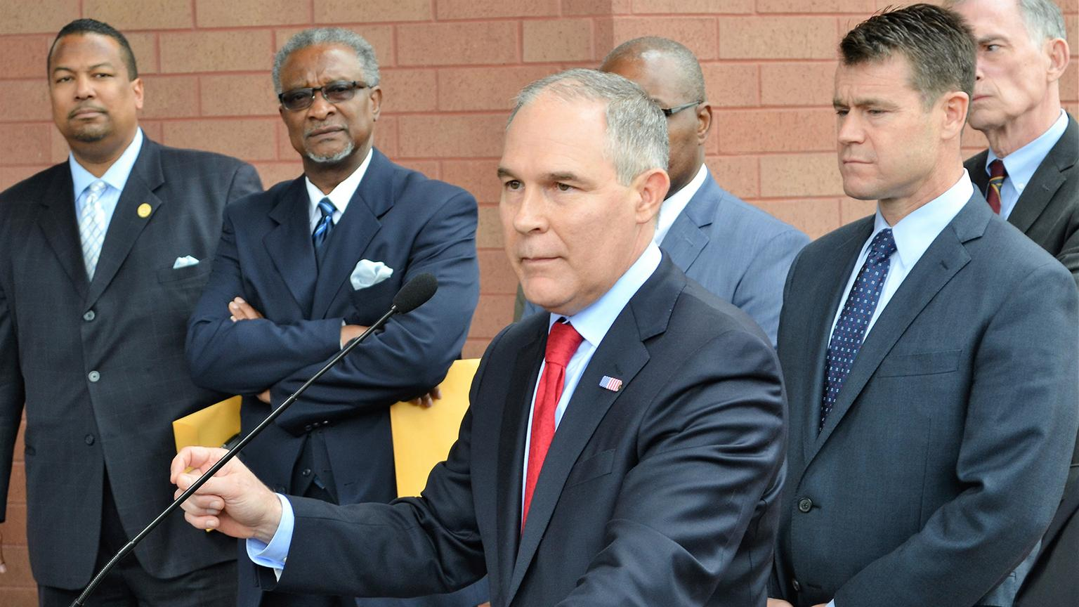Former EPA Administrator Scott Pruitt speaks to the press after meeting with residents of East Chicago's lead-contaminated neighborhoods in April 2017. (Chicago Tonight file photo)