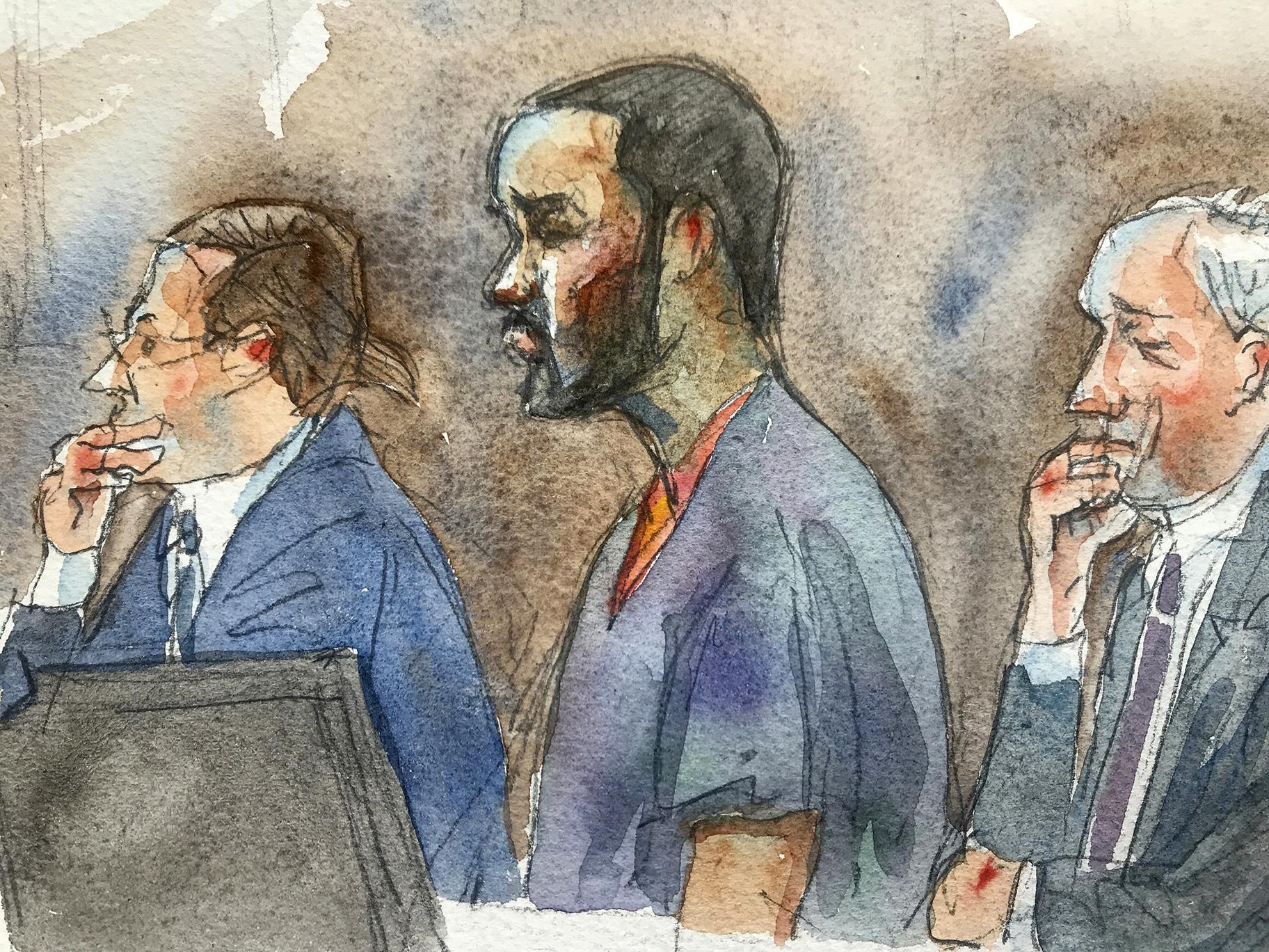 In this courtroom sketch, R&B singer R. Kelly, center, listens in federal court with his attorneys Doug Anton, left, and Steve Greenberg during his arraignment, Friday, Aug. 2, 2019 in New York. (Aggie Kenny via AP)
