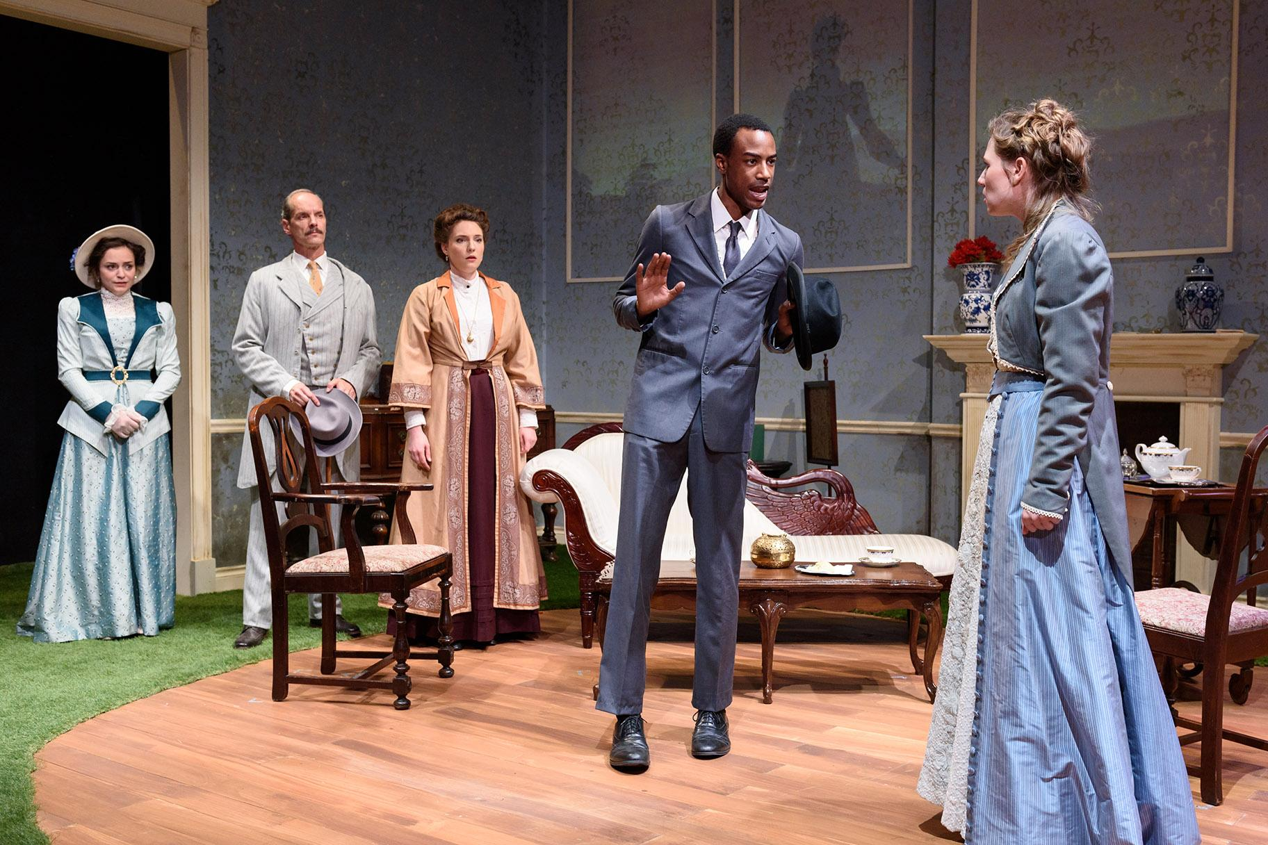 "From left: Natalie Santoro, Mark Ulrich, Eliza Stoughton, Terry Bell and Heather Chrisler in ""Howards End."" (Photo by Michael Courier)"