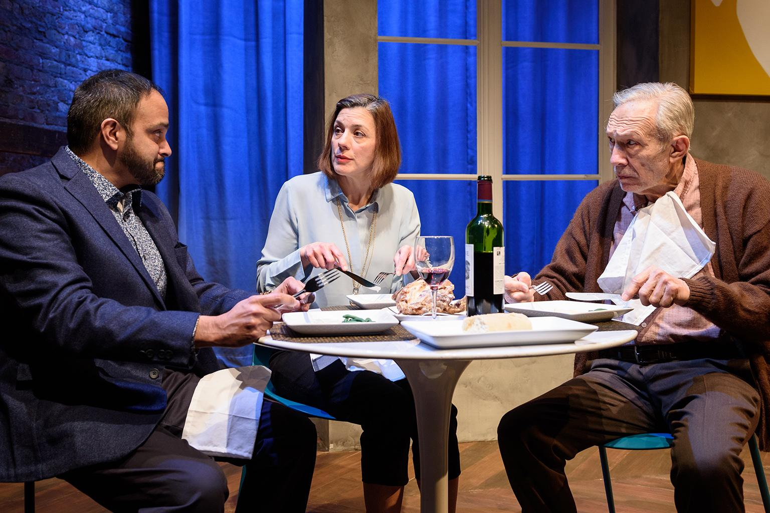 "Anish Jethmalani, Linda Gillum and David Darlow in ""The Father"" (Photo by Michael Courier)"