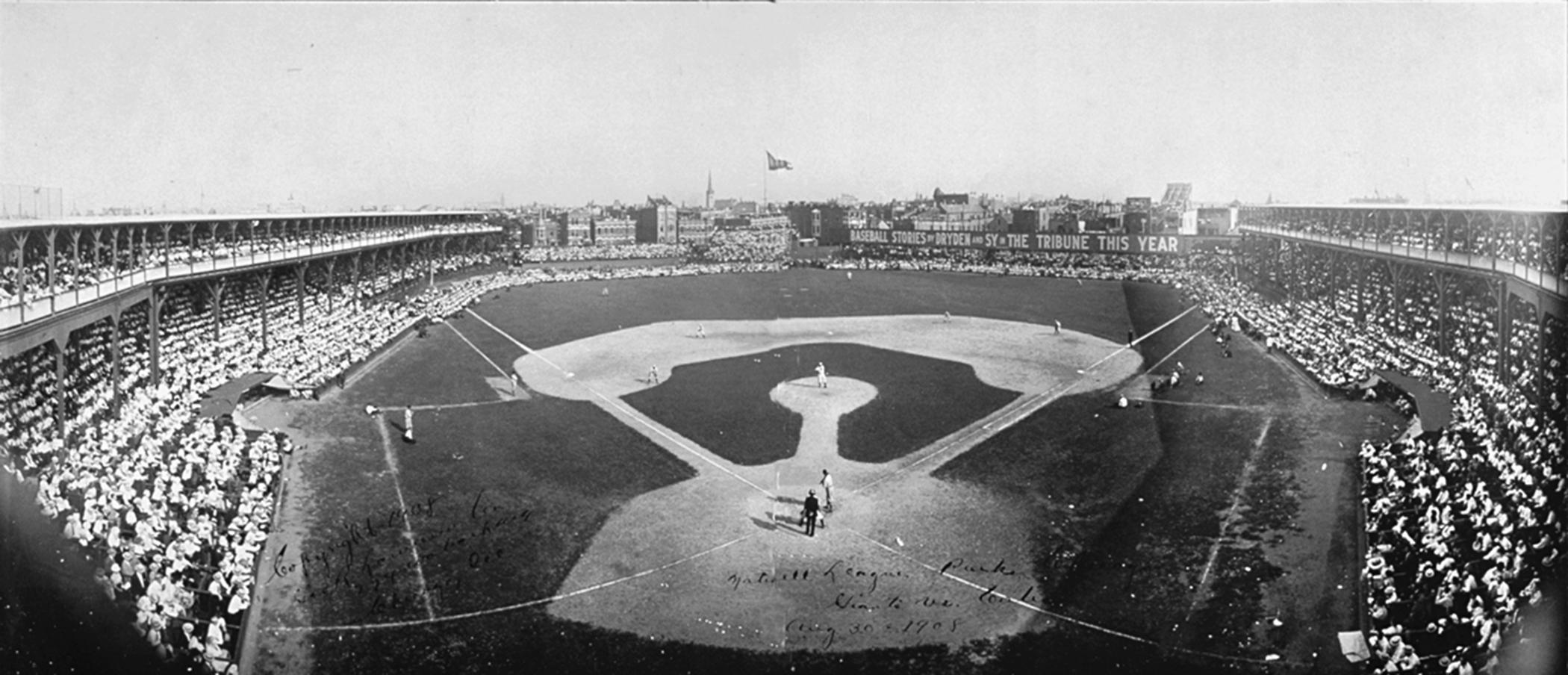 Before there was a Wrigley Field on Chicago's North Side, the Cubs played all their home games at the West Side Grounds, located on a block bounded by Taylor, Wood, Polk, and Lincoln (now Wolcott) streets. The standing-room-only crowd at this August 30, 1908, game against archrival New York Giants was typical. (Bain Collection, Library of Congress)