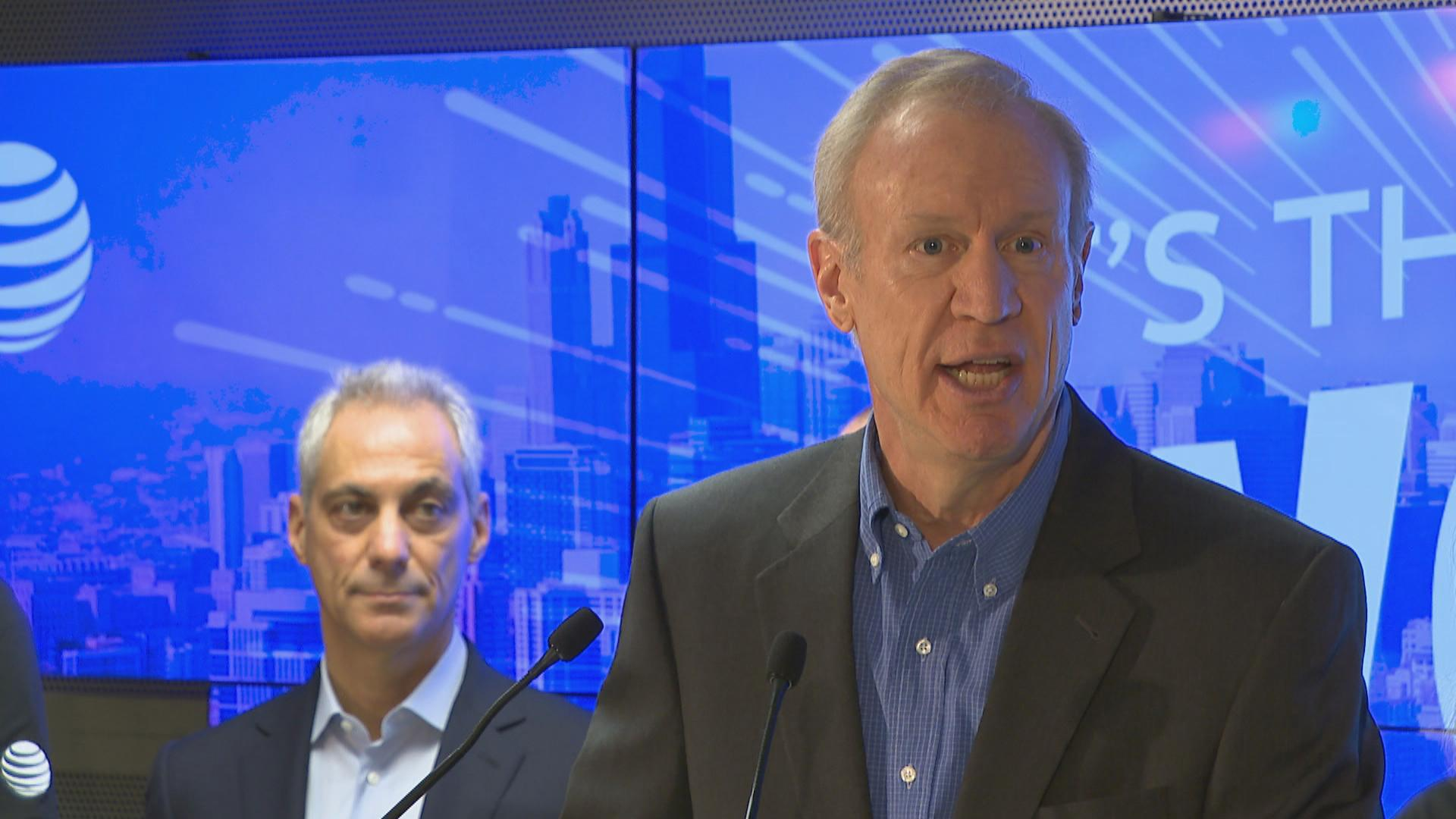 Gov. Bruce Rauner speaks Wednesday at a ribbon-cutting for a new AT&T call center on the Northwest Side. (Chicago Tonight)