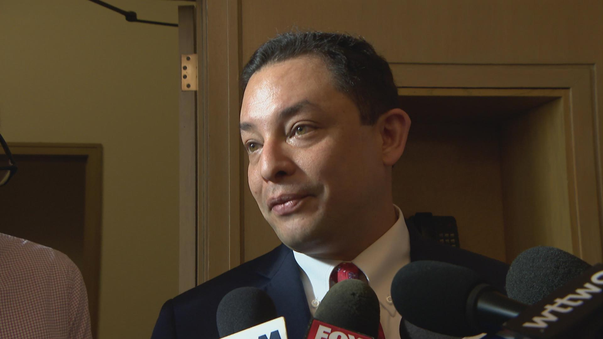 """First and foremost, I'm not trying to be the organizer of a resistance against the mayor,"" Ald. Raymond Lopez said Wednesday following the first City Council meeting presided over by new Mayor Lori Lightfoot. (WTTW News)"