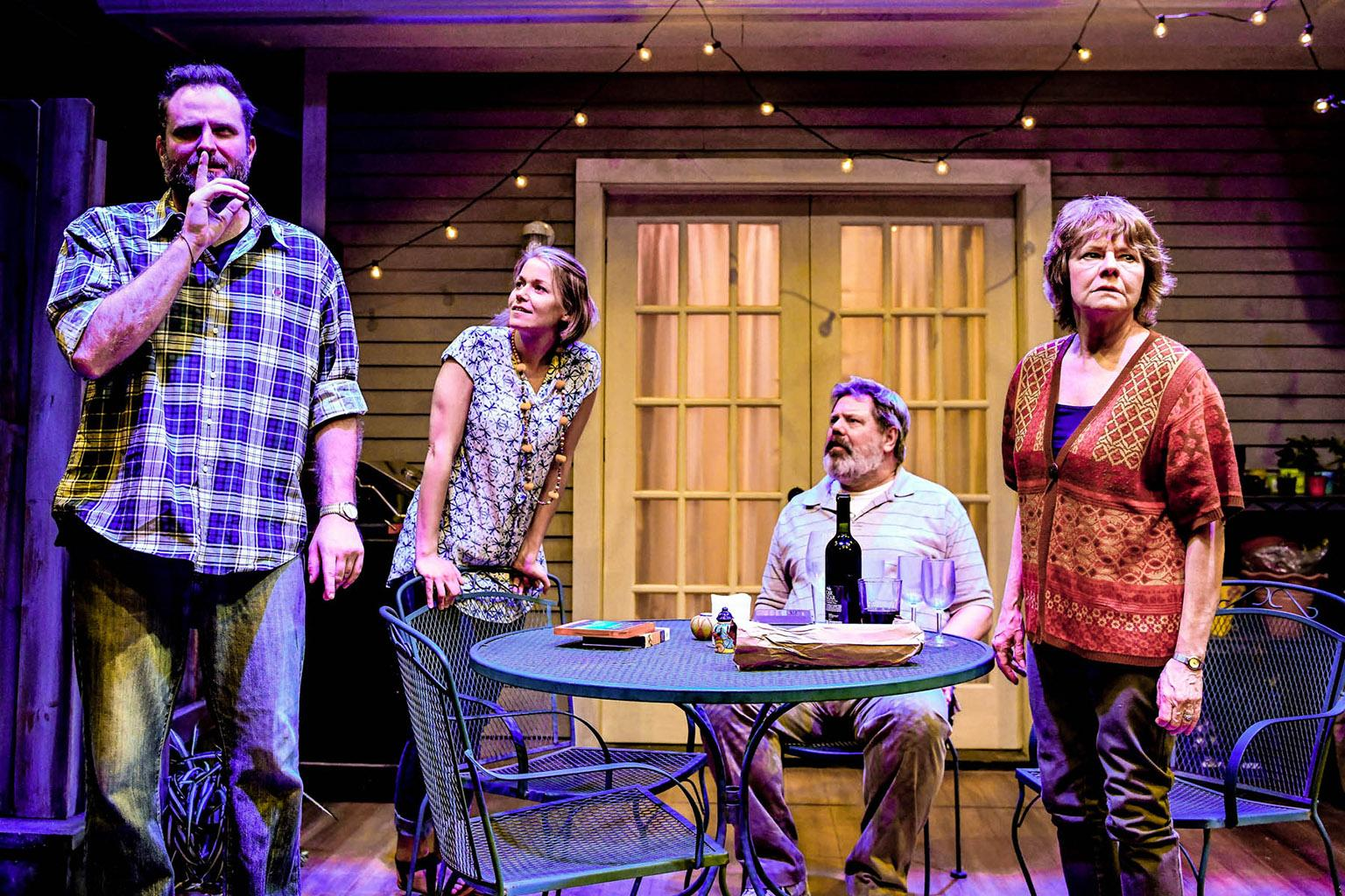 "From left: Joseph Wiens, Cortney McKenna, H.B. Ward and Linda Reiter in ""The Realistic Joneses."" (Photo by Evan Hanover)"