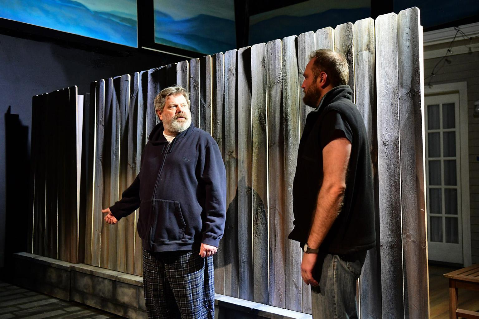 "H.B. Ward, left, and Joseph Wiens in ""The Realistic Joneses."" (Photo by Evan Hanover)"