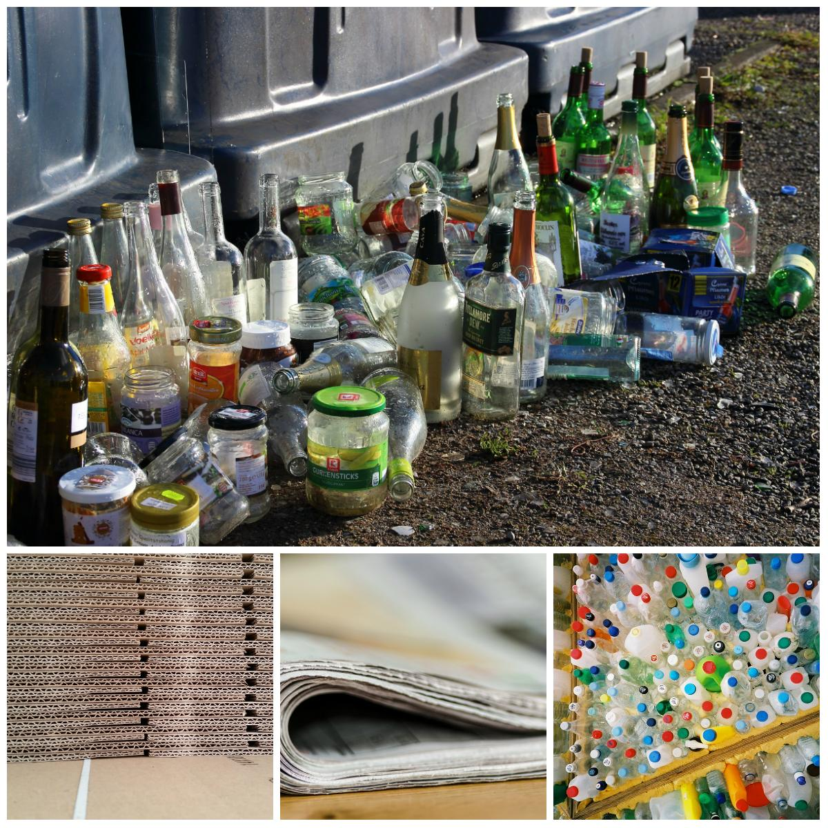 Glass, flattened cardboard, paper and plastic bottles are among the items that can be recycled.