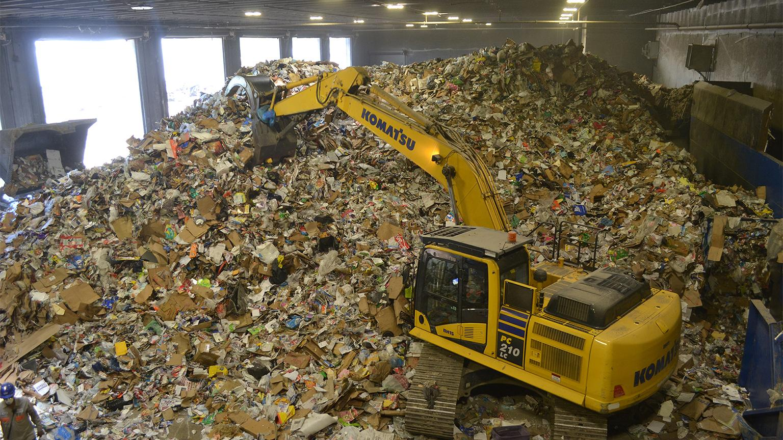 About 400 tons of recycling are processed every day at Lakeshore's facility in Forest View. (Alex Ruppenthal / Chicago Tonight)