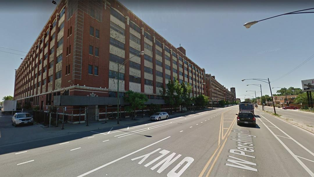 Chicago is looking to redevelop two buildings on West Pershing Road in McKinley Park, above, constructed by the Army in 1918 and formerly occupied by the Chicago Board of Education. (Google Maps)