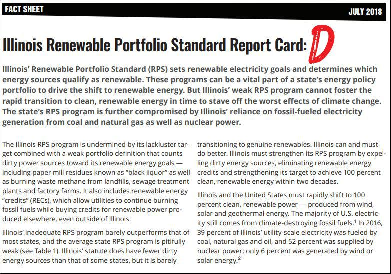 "A new report gives Illinois a ""D"" grade for its renewable energy program. (Courtesy Food & Water Watch)"