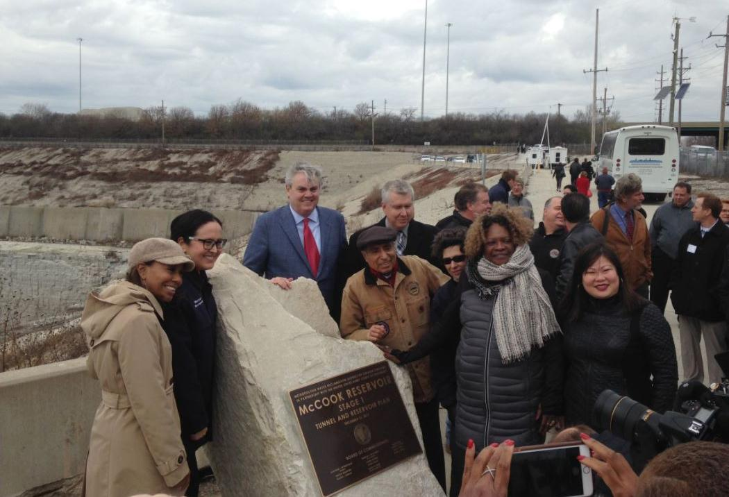 Public officials dedicate the completion of the first stage of the McCook Reservoir. (Courtesy Metropolitan Water Reclamation District Board of Commissioners)