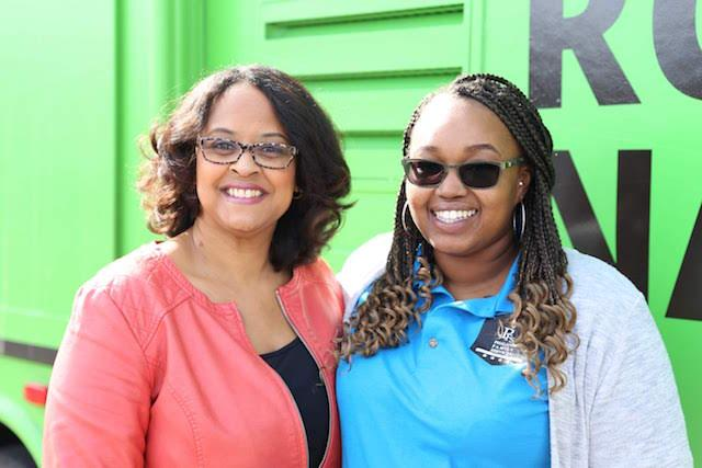 Karin Norington-Reaves (left) and Yasmine Tolbert (right) in front of the Roadtrip Nation RV. (Courtesy Roadtrip Nation)