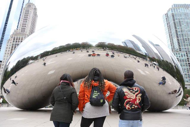 Road trippers Yasmine Tolbert, Taiheem Wentt and Denise Flores at the Chicago Bean. (Courtesy Roadtrip Nation)