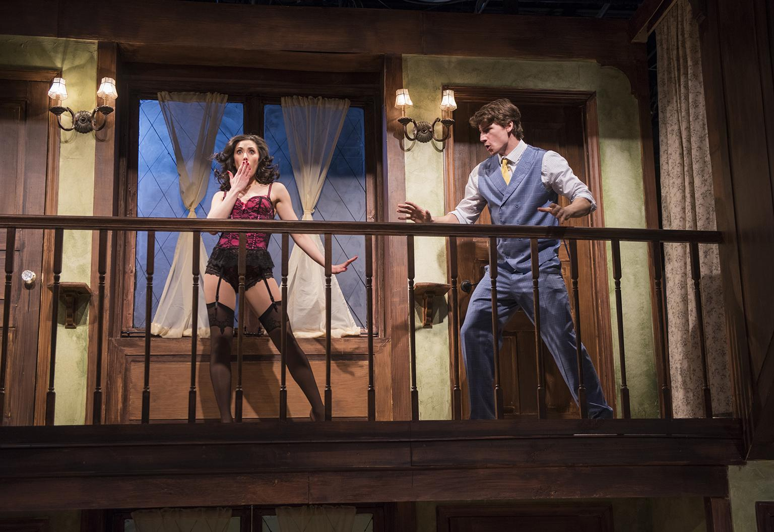 "Rochelle Therrien and Ryan McBride in ""Noises Off"" (Credit: Michael Brosilow)"