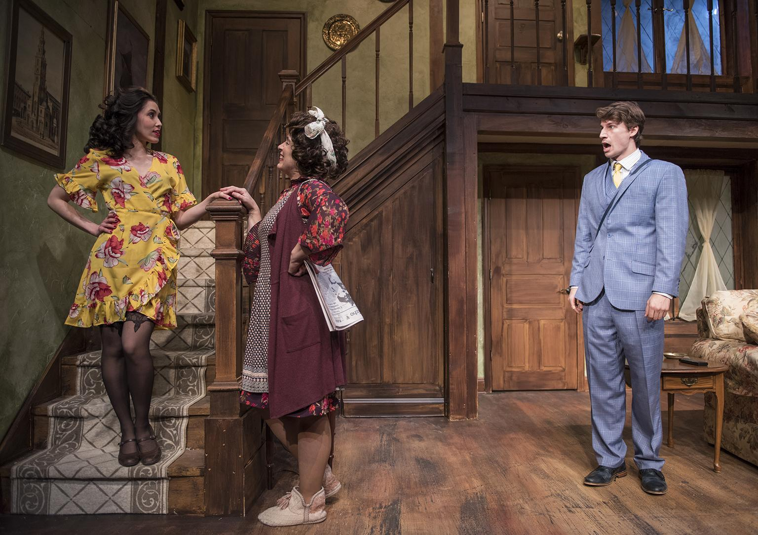 "Rochelle Therrien, Amy J. Carle and Ryan McBride in ""Noises Off""  (Credit: Michael Brosilow)"