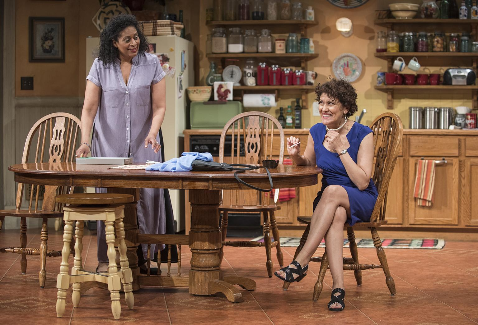 "Ora Jones, left, and Sandra Marquez in Steppenwolf's Chicago premiere of ""The Roommate."" (Photo credit: Michael Brosilow)"