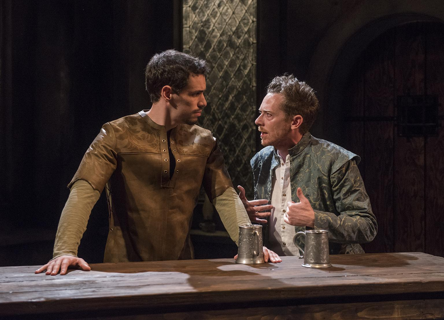"Ryan Hallahan, left, and Steve Haggard in ""Witch"" at Writers Theatre. (Photo credit: Michael Brosilow)"