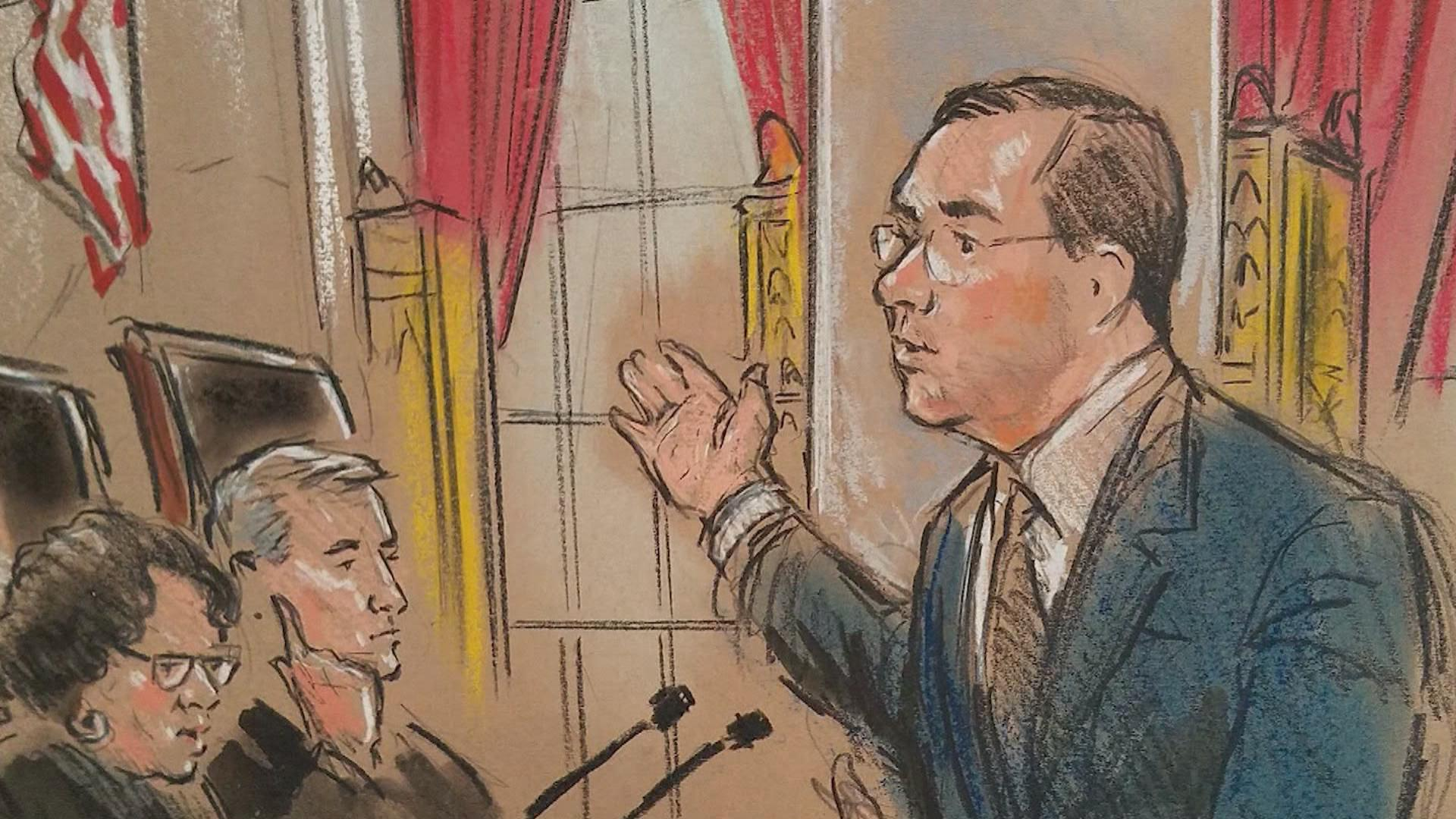 Attorneys for both sides of Janus v AFSCME presented arguments to the Supreme Court on Monday. (Courtroom sketch by Bill Hennessy)