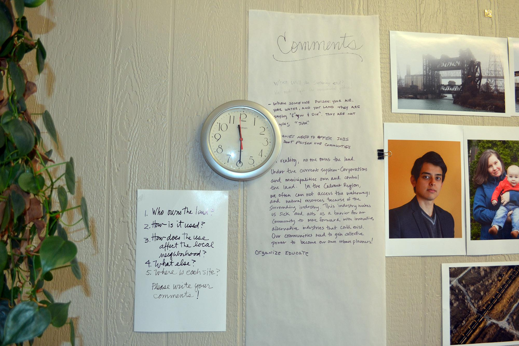 Question and comment sheets hang on the walls at Southeast Environmental Task Force's Hegewisch office. (Alex Ruppenthal / Chicago Tonight)