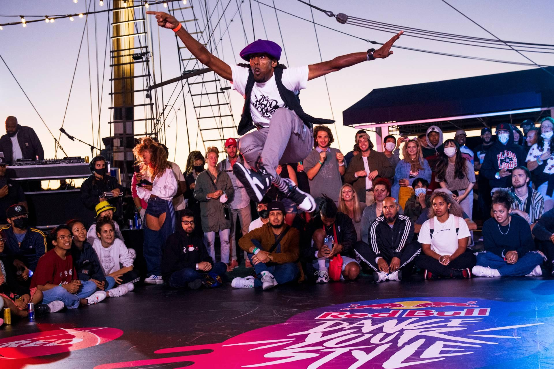 Riotthavirus competes in the Red Bull Dance Your Style Qualifier in Boston on September 10, 2021 (Drew Gurian / Red Bull Content Pool)